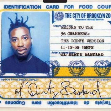 Ol' Dirty Bastard Food Card Poster 11x17