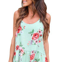 Flounce Racerback Light Green Floral Tank Top