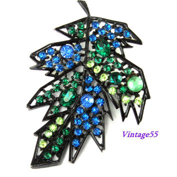 Brooch Blue Fall Leaf Rhinestone