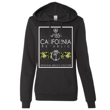 California Beach Palm Trees Ladies Lightweight Fitted Hoodie