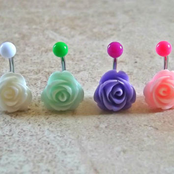 Rose Bud Belly Ring Body Jewelry Body Piercing Choose Your Color