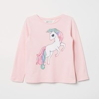 Jersey Top with Printed Design - Light pink/unicorn - Kids | H&M US