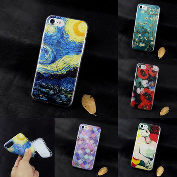 Soft Silicone Van Gogh Star Picasso Cover fundas Case For Apple iPhone se 4 4s 5 5s 5c 6 6s 7 plus coque TPU print Crystal Soft