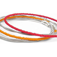 Bangle Bracelet Stack // Set of 4 Bracelets // Guitar String Bangle Bracelets / Red, Orange Seed Beads, Silver Wire Wrap / Gift For Musician