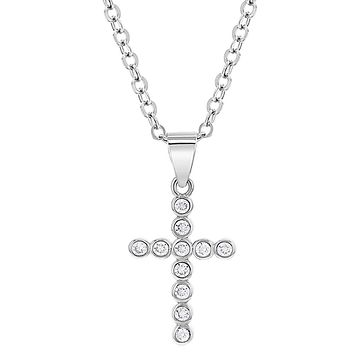 925 Sterling Silver Cross Cubic Zirconia Pendant Necklace for Girls 16""
