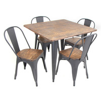 Oregon Industrial Look Dining Set - 5 Piece Gray/Wood