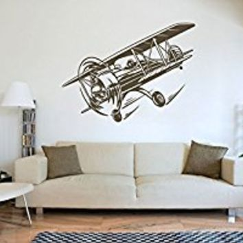 Wall Decal Vinyl Sticker Decals Art Decor Design War Plane Military Air Aviation Airplane Sky Attack Boys Bedroom Living Room Nursery(r1305)