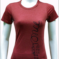 Once the Musical - Ladies Dark Red Logo T-Shirt