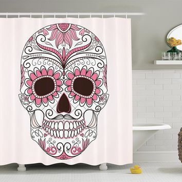 Pink Sugar Skull Fabric Shower Curtain