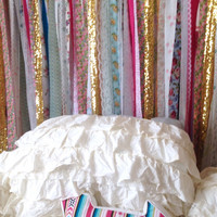 Boho Headboard Hippie Curtains Boho Curtain Junk Gypsy Decor Rustic Rag Fabric Ribbon Garland Teen Room-Dorm-Glamping-Bed-Backdrop-Nursery