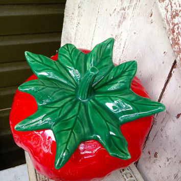 Vintage Strawberry Cookie Jar Treasure Craft, ceramic Red and Green