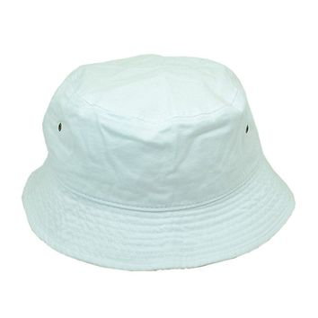 Men Women 100% Cotton Fishing BUCKET HAT CAP Boonie Brim visor Sun Safari WHITE