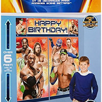 "Amscan Grand Slammin' WWE Birthday Party Scene Setter Wall Decorating Kit (5 Pack), 59"" x 65"", Multicolor"