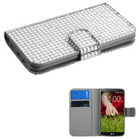 Book-Style Diamonds Flip Cover Wallet Case for LG G2 - Silver
