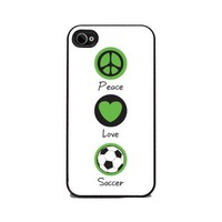 Insomniac Arts - Peace Love & Soccer - iPhone 4 or 4s Cover, Cell Phone Case - Black