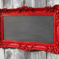 HOLLYWOOD REGENCY CHALKBOARD Red French Country by RevivedVintage