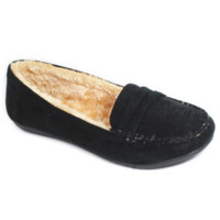 Faux Soft Suede Fur Lined Moccasin Loafers Black