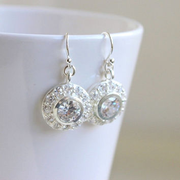 Bridal Earrings Round CZ Sterling Silver CNE8P