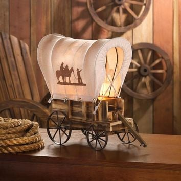 Western Covered Wagon Table Lamp Wood & Metal Cover Silhouettes Cowboys & Horses