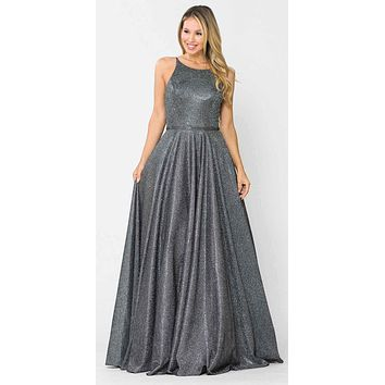 Silver/Black Long Prom Dress with Criss-Cross Back and Pockets