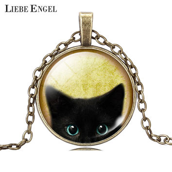 Unique Necklace Glass Cabochon Silver Bronze Chain Necklace Tradition Black Cat Picture Vintage Pendant Necklace For Women