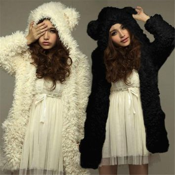 ZANZEA Oversized S-3XL Winter Warm Women Solid Hoodies Padded Fur Coat Fashion Kawaii Teddy Outerwear Long Hooded Overcoat Parka
