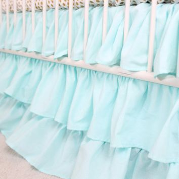 Waterfall Ruffle 3 Tier Crib Skirt | Solid Aqua