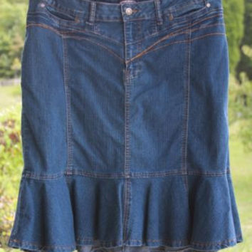 Zoey Beth Blue Jean Skirt Ruffled Stretch Women's Size X Large
