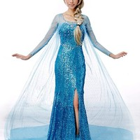 Frozen Princess Snow Queen Elsa Fancy Dress Cosplay Costume (S, Elsa Dress)