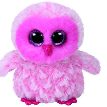"Pyoopeo Ty Beanie Boos 6"" 15cm Twiggy the Pink Owl Plush Regular Stuffed Animal Collectible Soft Doll Toy with Tags"