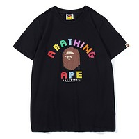Bape Aape New fashion bust colorful letter print top t-shirt Black