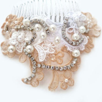 Vintage Style Pearl Lace Rhinestone Bridal Hair Accessories, Wedding Hair Comb
