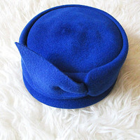 Vintage 50's Henry Pollak COBALT BLUE Glenover 100% Wool PILLBOX Hat Fascinator