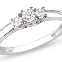 1/3 Carat Diamond 14K White Gold Anniversary Ring