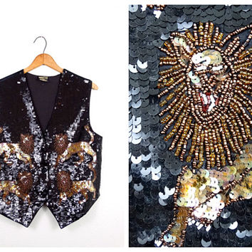 Lion Art Deco Beaded Sequin Vest // Sequined Novelty Vest // Black & Gold Bolero Jacket Vest Large XL