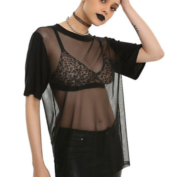 Black Oversized Mesh Girls Top