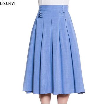 Women Long Pleated Skirts New Summer Elastic Waist Cotton Linen Skirt Women's A-Line High Waist Casual Midi Skirt