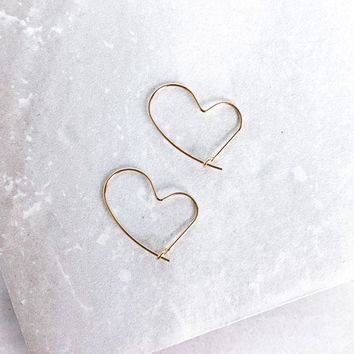 14K Open Heart Dainty Hoop Earrings