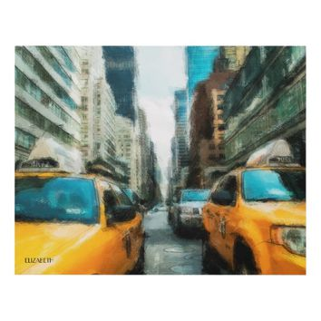 Yellow Taxi Cabs After Rain In New York City Panel Wall Art