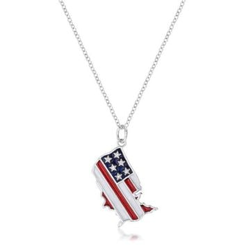 .015 Ct Patriotic U.S. Map Necklace with Red White and Blue Enamel and Cubic Zirconia