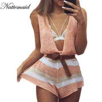 Spring Summer Knitted Jumpsuits Rompers Drop V Neck Loose Short Jumpsuit Sleeveless Novel Pattern