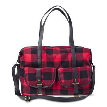 Mossimo Supply Co. Plaid Checkered Weekender Duffle Handbag - Red/Black