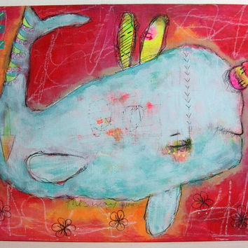 folk art Original painting whimsical painting by thesecrethermit