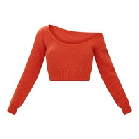 Orange V Neck Off Shoulder Knitted Cropped Jumper
