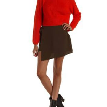 Olive Tied Asymmetrical Wrap Skort by Charlotte Russe