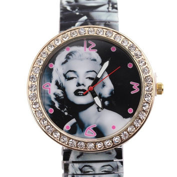 2015 high-grade Korean foreign trade fashion Marilyn Monroe stretch table shrinkage strip dial female casual table = 1956403460