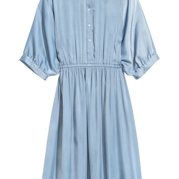 Patterned shirt dress - Light blue - Ladies | H&M GB