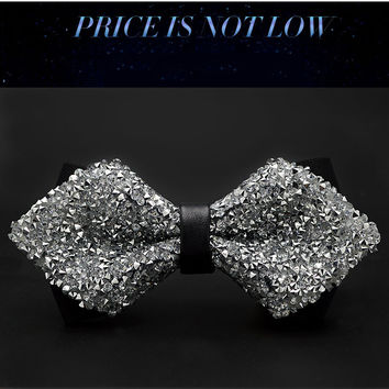 New Fashion Bling Bling Crystal Tuxedo Bow Tie Sharp Corner Cravats Men's Women's Double Layer Butterfly Knot Wedding Banquet