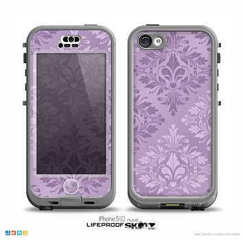 The Light Purple Damask Floral Pattern Skin for the iPhone 5c nüüd LifeProof Case