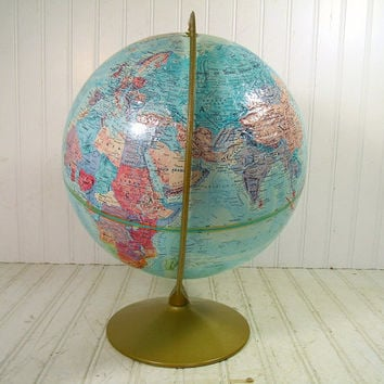 Vintage Replogle World Nation Series 12 Inch Globe - Retro Student Globe on Metal Stand with Raised Relief Topography - Mid Century Travel